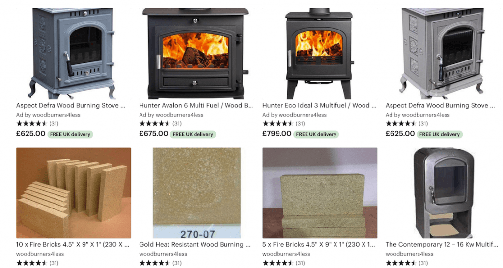 Etsy  – Wood Burning Stoves, tools, Firebricks, etc.